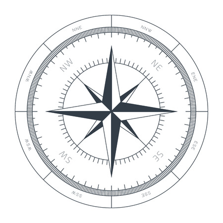 meridian: Wind Rose Conceptual Illustration Isolated on White Background