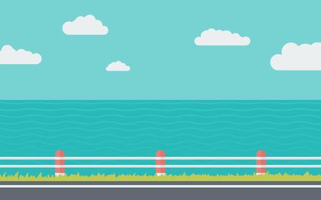 フラット スタイルで海のシンプルなイラストの近くの道路  イラスト・ベクター素材