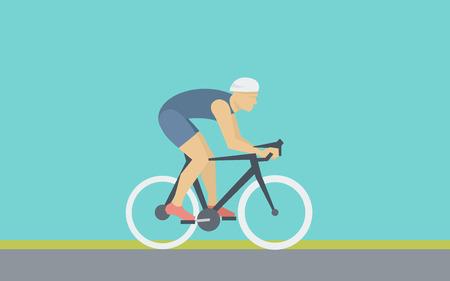 ciclista: Ciclista monta una bicicleta ilustración simple en estilo Flat