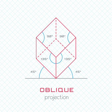 Frame Object in Axonometric Perspective  Oblique Grid Template Guideline