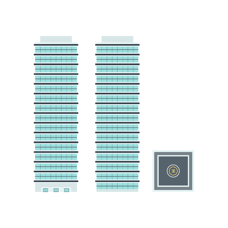 projections: High-Rise Building: Front, Side, Top - Template for Creation Axonometric Projections Isolated on White Background