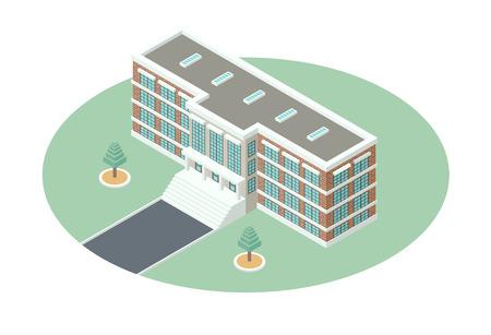 Verwaltungsgebäude mit einem begrünten Innenhof - eine ausführliche Darstellung in isometrischer Projektion auf weißen Hintergrund