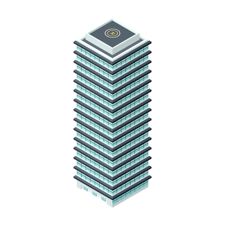 residential neighborhood: High-Rise Building - Detailed Illustration in Isometric Projection Isolated on White Background Illustration