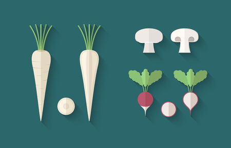 champignon: A set of Vegetables in a Flat Style with an Oblique Blend Shadow - Parsley, Radish and Champignon