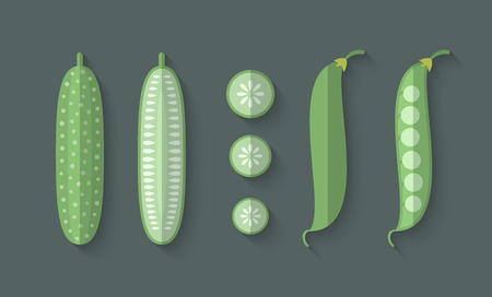 slice: A set of Vegetables in a Flat Style with an Oblique Blend Shadow - Cucumber and Snow Peas