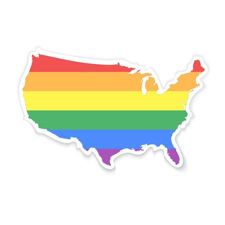 boda gay: Mapa de los Estados Unidos de América en LGBT (lesbianas, gays, bisexuales y transexuales) colores de la bandera - pegatina con la sombra aislada en blanco