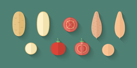 A set of Vegetables in a Flat Style with an Oblique Blend Shadow - Potato, Tomato and Sweet Potato