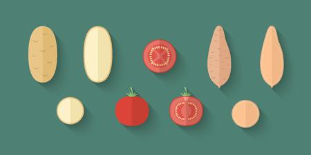batata: Un conjunto de verduras en un estilo plano con una sombra oblicua Blend - patata, tomate y patata dulce