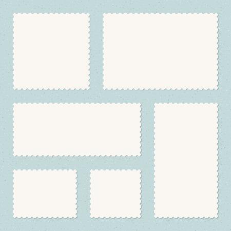 postage stamps: Vintage Postage Stamps Templates on Textured Background Illustration
