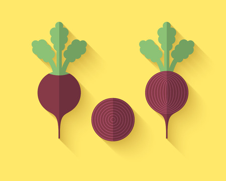 beet root: A set of Vegetables in a Flat Style with an Oblique Blend Shadow - Beet Illustration