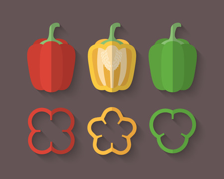 A set of Vegetables in a Flat Style with an Oblique Blend Shadow - Paprika