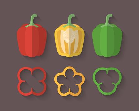 pimenton: Un conjunto de verduras en un estilo plano con una sombra Blend Oblique - Paprika