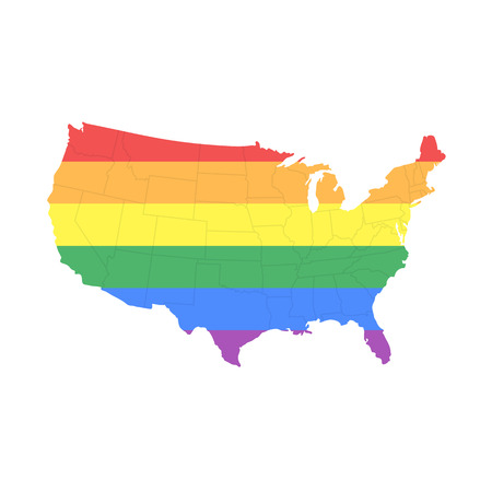 transgender: Map of The United States of America in LGBT (Lesbian, Gay, Bisexual, and Transgender) Flag Colors with States Borders - Isolated on White