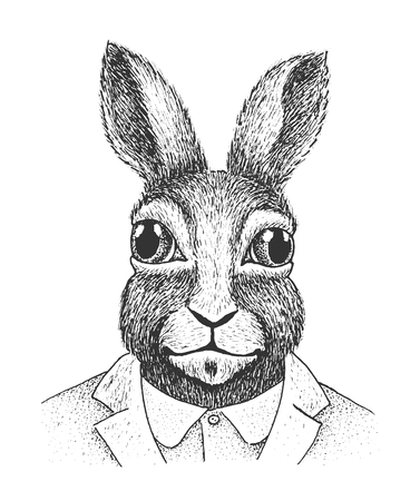 black and white image drawing: Funny Portrait of Rabbit - Classic Drawn Ink Illustration Isolated on White Background Illustration