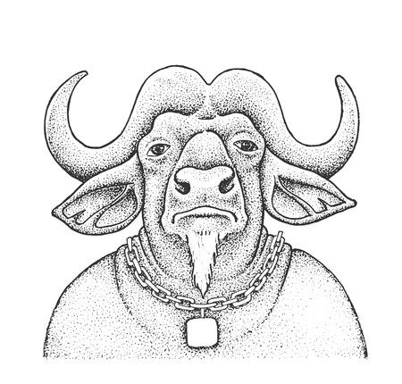 Portrait of African Buffalo - Classic Drawn Ink Illustration Isolated on White Background Vektorové ilustrace