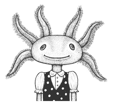 tattoo girl: Funny Portrait of Axolotl - Classic Drawn Ink Illustration Isolated on White Background