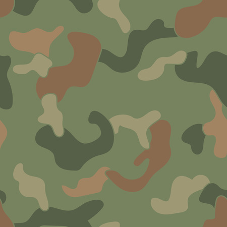 dominant: Military Camouflage Textile Seamless: USA, 1942s, Jungle Green Dominant - Vector Illustration with Pattern in Swatches Panel
