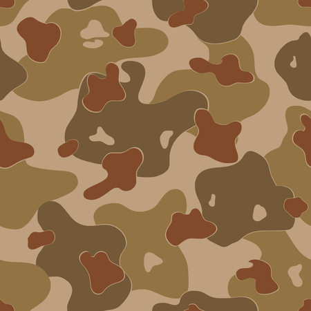experimental: Military Camouflage Textile Seamless: USA, WW2, Earth Brown, Experimental - Vector Illustration with Pattern in Swatches Panel