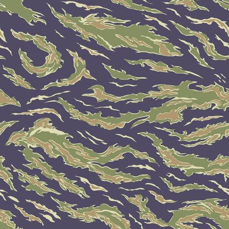 camuflaje: Los militares camuflan el textil sin costuras: EE.UU., 1964-1975, la raya del tigre Uniforme - Vietnam del Sur - Ilustraci�n del vector con el modelo de panel Muestras Vectores
