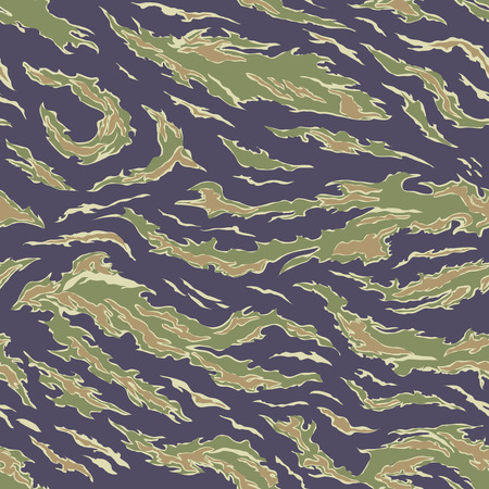 Military Camouflage Textile Seamless: USA, 1964-1975, Tiger Stripe Uniform - South Vietnam - Vector Illustration with Pattern in Swatches Panel