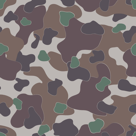 ww2: Military Camouflage Textile Seamless: USA, WW2, Dark Brown, Experimental - Vector Illustration with Pattern in Swatches Panel