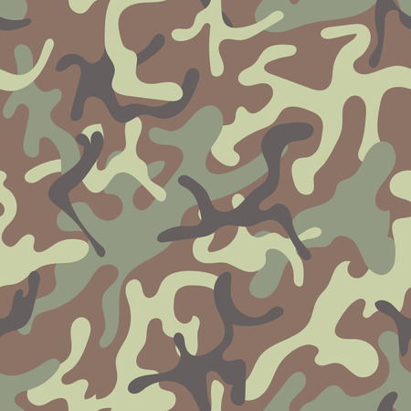 stealth: Military Camouflage Textile Seamless: USA, 1948, ERDL, Jungle - Vector Illustration with Pattern in Swatches Panel Illustration