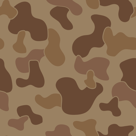 dominant: Military Camouflage Textile Seamless: USA, 1942s, Jungle Brown Dominant - Vector Illustration with Pattern in Swatches Panel