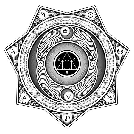 mystical: Interaction Scheme of Alchemical Elements with the Titles and Symbols - Vector Illustration Stylized as Engraving Isolated on White Illustration