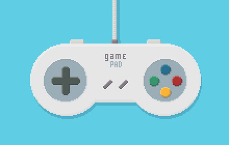 controller: Wired Game Controller - Vector Illustration in Pixel Art Classical Technique