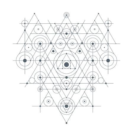 Abstrakte geometrische Komposition - Monochrom-Vektor-Illustration auf weißen Hintergrund