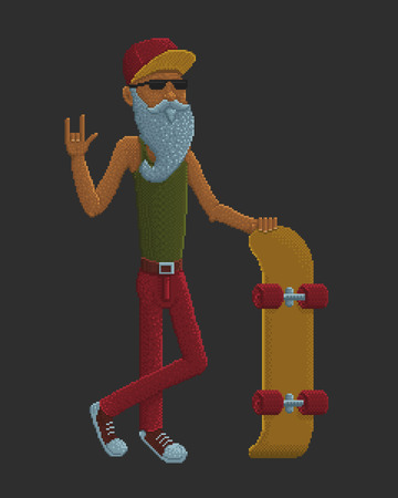 pixelart: Bearded Old Man with Skateboard - Pixel Art Colorful Vector Illustration