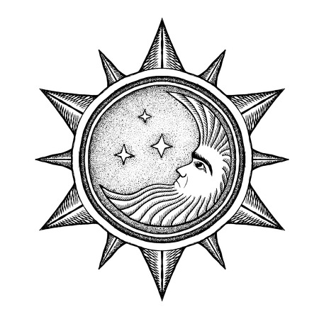 divinity: Moon With Stars Alchemy Symbol - Vector Illustration Stylized as Engraving Isolated on White
