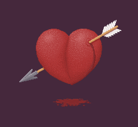 anguish: Bleeding Heart Pierced by an Arrow of Cupid - Vector Illustration in Pixel Art Classical Technique Illustration