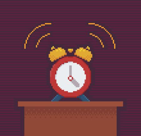 console table: Alarm Clock - Illustration in Pixel Art Classical Technique