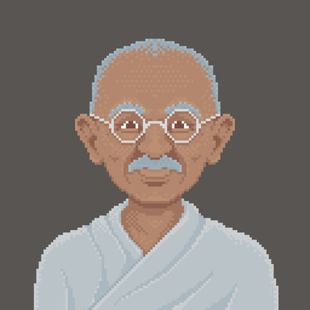 humankind: Cartoon Portrait of Mahatma Gandhi - Illustration in Pixel Art Classical Technique