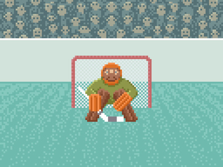 pixelart: Ice Hockey Goalkeeper in the Gate - Illustration in Pixel Art Classical Technique