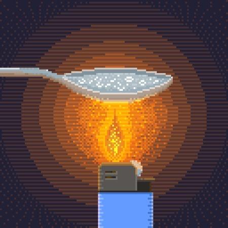 Síntesis de crack en la artesanía Condiciones - Ilustración en Pixel Art técnica clásica