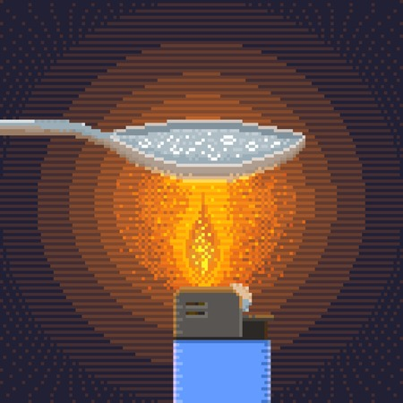 junkie: Synthesis of Crack Cocaine in Handicraft Conditions - Illustration in Pixel Art Classical Technique