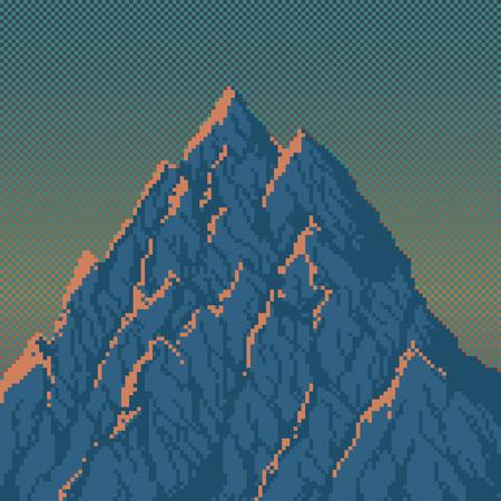 technique: Mountains at Sunrise - Illustration in Pixel Art Classical Technique