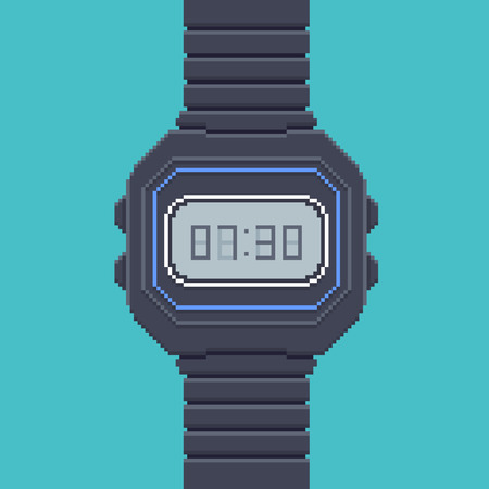 illustration technique: Vintage Electronic Wrist Watch - Illustration in Pixel Art Classical Technique