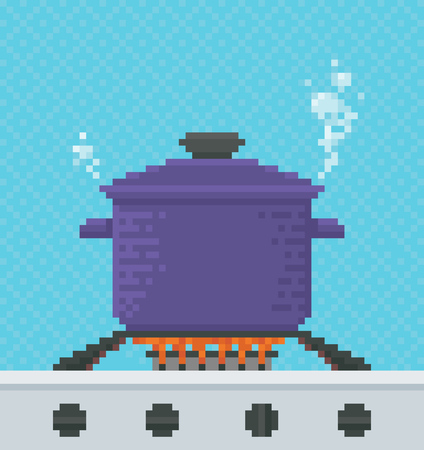 pixelart: Food is Cooked in a Pot on a Gas Stove - Illustration in Pixel Art Classical Technique Illustration