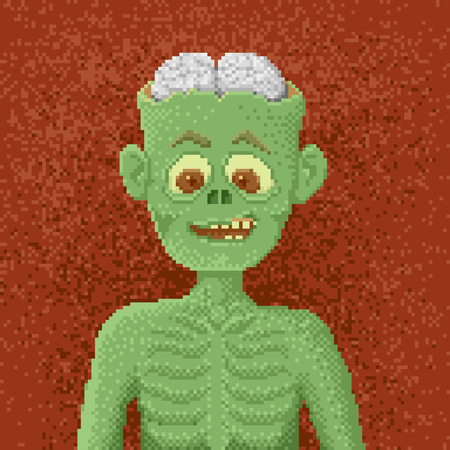 man eater: Grinning Zombies with a Broken Head - Illustration in Pixel Art Classical Technique
