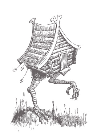Hut on Chicken Legs Goes through the Swamp. The Character of the Slavic Tales. Vector Illustration in Classic Hand Drawn Ink Technique.