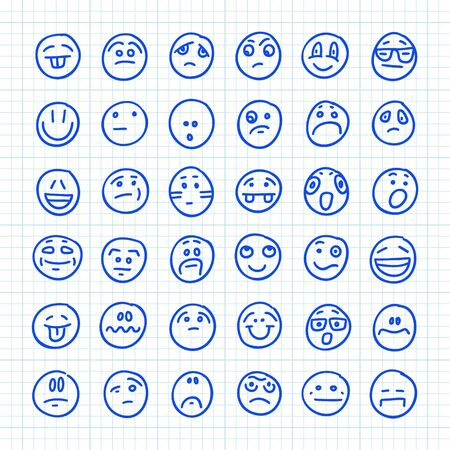 A Set of 36 Smiles Emoji Icons Drawn by Hand on Squared Paper: Part 04. Vector Doodle Illustration.