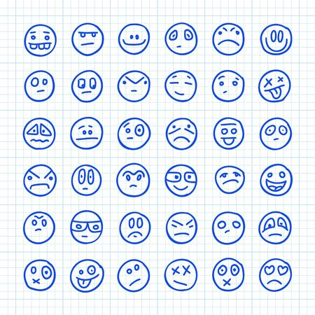 A Set of 36 Smiles Emoji Icons Drawn by Hand on Squared Paper: Part 06. Vector Doodle Illustration.