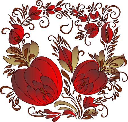 handwork: handwork pattern  Ukrainian list  buds of big flowers on branches  Illustration