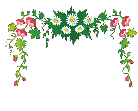 fringing for the text  flowers and leaves  frame