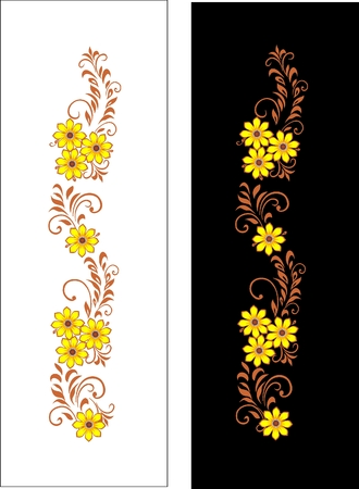 model of handwork  ornement in a strip  decorative bouquet in national Ukrainian art on a white background, on a black background  Vector