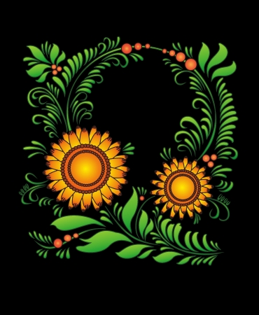 Sun-flower  handwork pattern  round ornament, decorative bouquet in national Ukrainian art   fringing for the text from flowers and leaves  on a black background