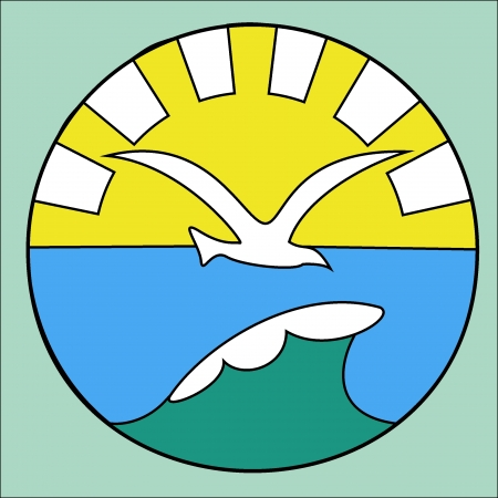 symbol of a seagull over a sea wave against a rising sun Иллюстрация